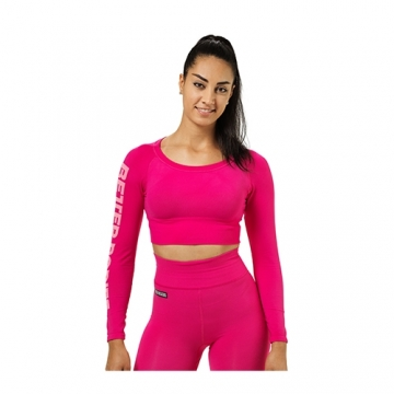 Better Bodies Bowery Cropped LS (Hot Pink)