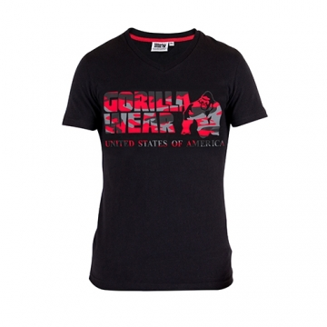 Gorilla Wear Sacramento V-Neck T-Shirt (Black/Red)