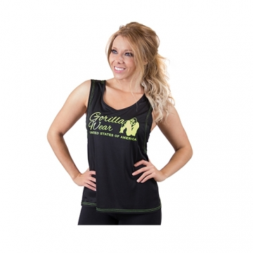 Gorilla Wear Odessa Cross Back Tank Top (Black/Neon Lime)