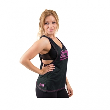 Gorilla Wear Odessa Cross Back Tank Top (Black/Pink)