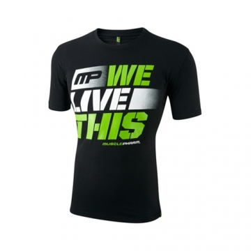 Musclepharm Sportswear Crew Neck Live This Tee Black (MPTS411)