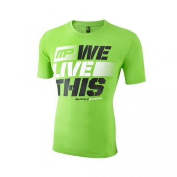 Musclepharm Sportswear Crew Neck Live This Tee Lime Green (MPTS411)