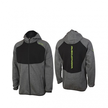 Musclepharm Sportswear Mens F/Z Hoodie with Contrast Panels Grey Marl (MPSWT520)