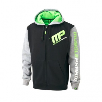 Musclepharm Sportswear Mens Zip Through Hoodie Black - Heather Grey - Lime (MPSWT479)