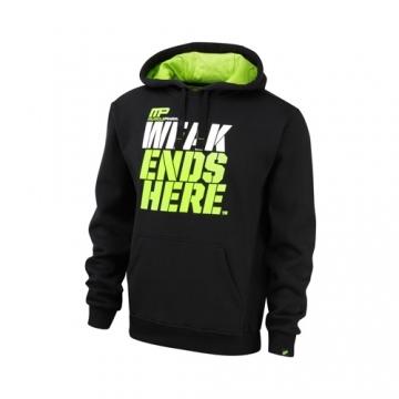 Musclepharm Sportswear Pull Over Hoodie Weak Ends Here Black Lime-Green (MPSWT450)