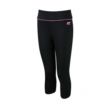 Musclepharm Sportswear Womens Capri Pant Black-Hot Pink (MPLPNT427)