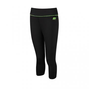 Musclepharm Sportswear Womens Capri Pant Black-Lime Green (MPLPNT427)
