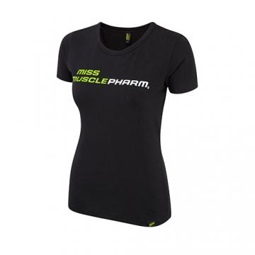 Musclepharm Sportswear Womens Crew Neck Miss Musclepharm Tee Black-Lime Green (MPLTS414)