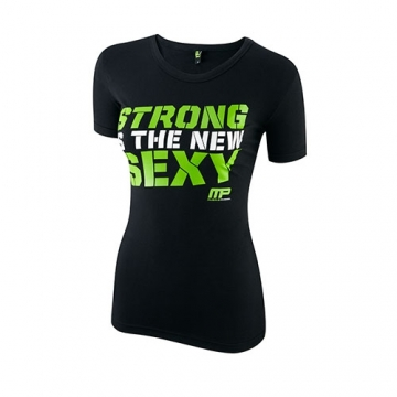 Musclepharm Sportswear Womens Crew Neck Strong is the new Sexy Black-Lime Green (MPLTS413)