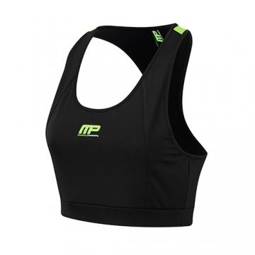 Musclepharm Sportswear Womens Crop Top Black-Lime Green (MPLTOP430)