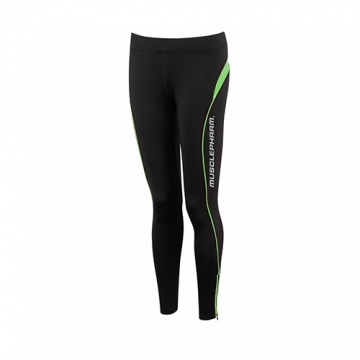 Musclepharm Sportswear Womens Detailed Tight Black-Lime Green (MPLPNT465)