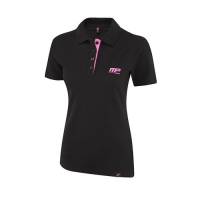 Musclepharm Sportswear Womens Embroidered Polo Shirt Black - Hot Pink (MPLTS470)