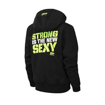 Musclepharm Sportswear Womens Full Zip Hooded Strong Is The New Sexy Sweat Black - Lime (MPLSWT468)
