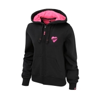 Musclepharm Sportswear Womens Full Zip Hooded Strong Is The New Sexy Sweat Black-Hot Pink (MPLSWT468)