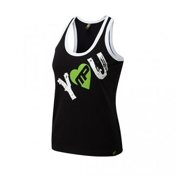 Musclepharm Sportswear Womens I Heart You Vest Black-Green (MPLVST488)