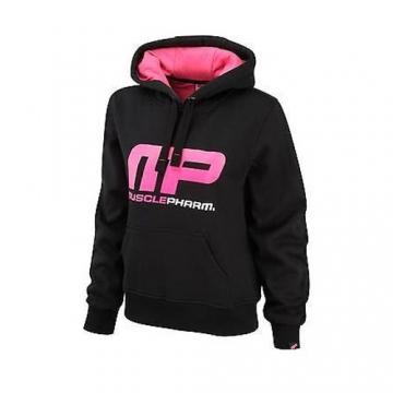 Musclepharm Sportswear Womens Overhead Hooded Sweat Black / Hot Pink (MPLSWT452)