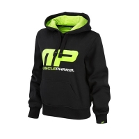 Musclepharm Sportswear Womens Overhead Hooded Sweat Black-Lime Green (MPLSWT452)