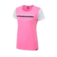 Musclepharm Sportswear Womens Strong & Sexy T-Shirt Black - Hot Pink (MPLTS486)