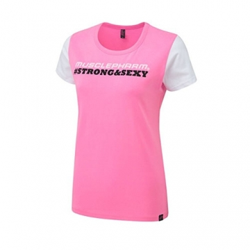 Musclepharm Sportswear Womens Strong & Sexy T-Shirt Black - Hot Pink (MPLTS486)