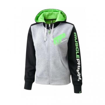Musclepharm Sportswear Womens Zip Through Hoodie Heather Gray - Black - Lime (MPLSWT477LS)