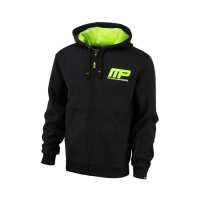 Musclepharm Sportswear Zip Through Hoodie Black Lime-Green (MPSWT447)