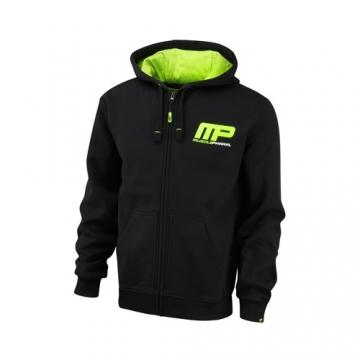 Musclepharm Sportswear Zip Through Hoodie Black Lime-Green (MPSWT447)