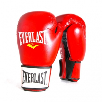 Everlast Leather Boxing Glove Fighter (Red/Black)