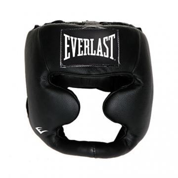 Everlast Leather Full Protect Headgear (Black)